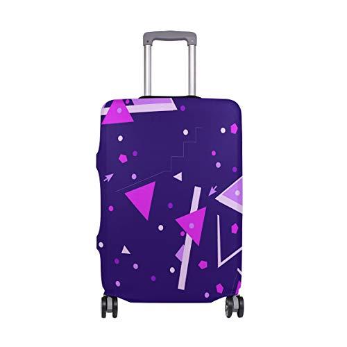Memphis - Funda protectora para maleta de viaje con patrón geométrico, color morado