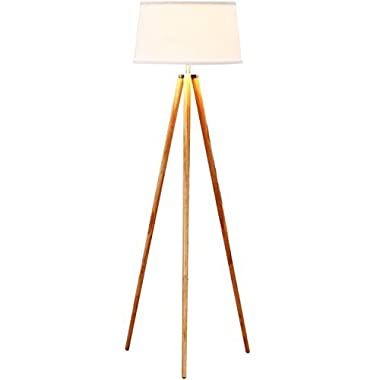 Brightech Emma LED Tripod Floor Lamp– Mid Century Modern Standing Light for Contemporary Living Rooms - Alexa Compatible Tall Survey Lamp for Bedroom, Office -White