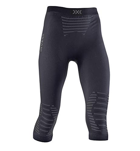 X-Bionic Invent 4.0 Pants 3/4 Women Pantalon Short de Course Jogging Trainning Fitness Gym Compression Baselayer Legging Femme, Black/Charcoal, FR : L (Taille Fabricant : L)