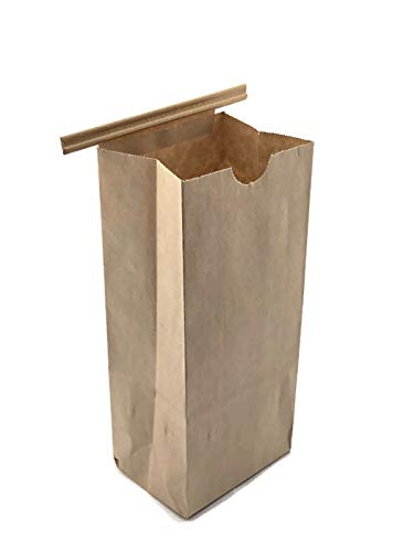 NEWPAK 1/2LB(8oz)-1LB(16oz)-2LB(32oz)-3LB(48oz)-5LB(80oz) Natural Kraft Tan Grease Resistant Tin Tie Bags 250pcs (1/2LB(8oz) 3 3/8 x 2 ½ x 7 ¾)