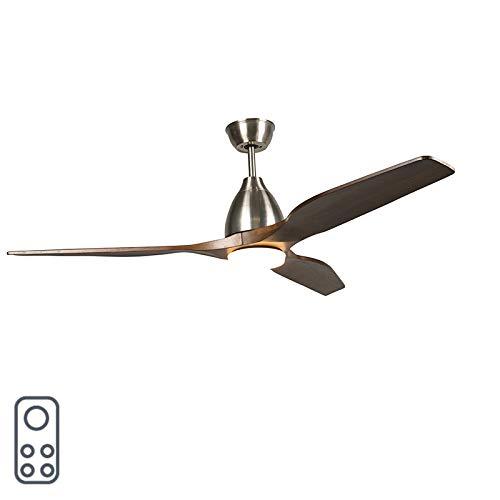 QAZQA Modern Plafondventilator hout incl. LED met afstandsbediening - Levant 52 Hout/Kunststof/Staal Rond LED inbegrepen Max. 1 x 18 Watt