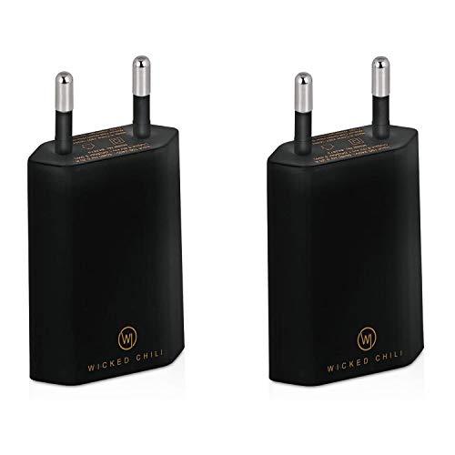 Wicked Chili 2X Pro Series Netzteil USB Adapter kompatibel mit Apple iPhone, Samsung Galaxy/Handy Ladegerät, Smartphone Netzstecker (1A, 5V) schwarz