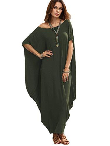 Verdusa Women's One Off Shoulder Caftan Sleeve Harem Maxi Dress Green M