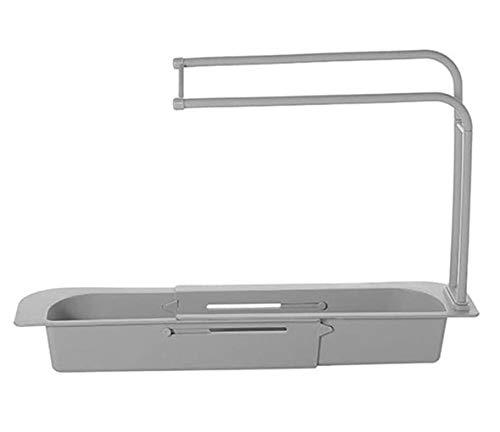 HAVAJ 2021 Estante telescópico multifuncional de cocina, soporte telescópico para fregadero, cesta de drenaje de almacenamiento extensible para el hogar kit de cocina gris