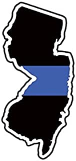 BAX Trading New Jersey State Shaped The Thin Blue Line Sticker Self Adhesive Police NJ Decal Sticker Car Bumper Window 5