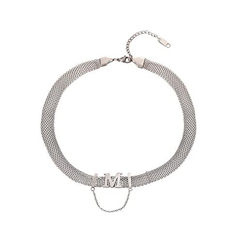 Titanio Acero M Carta Gargantilla Cadena De Clavícula Mujer Luz Lujo Collar Nicho Ins Hip Hop Collar Collar