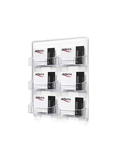 Deflect-o Visitenkartenhalter, 6 Fächer, wandhängend, horizontal, transparent