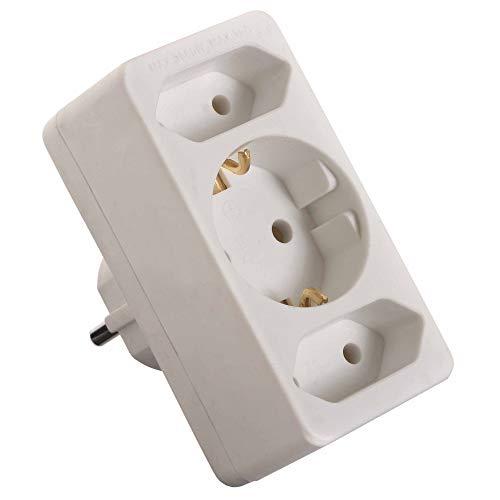 as – Schwabe Euromultistecker 2+1 – Zum Anschluss von 2 Euro-Steckern & 1 Schuko-Stecker – Strom-Stecker für Schuko-Steckdosen – 3-facher Multi-Stecker mit Kinderschutz – IP20 – Weiß I 49111