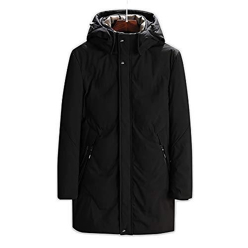 Veergewicht Mens Down Jack, Zwarte Winter Lange Zakelijke Jas voor heren, Coltrui met capuchon Handleiding Warm Zip Pocket Jas