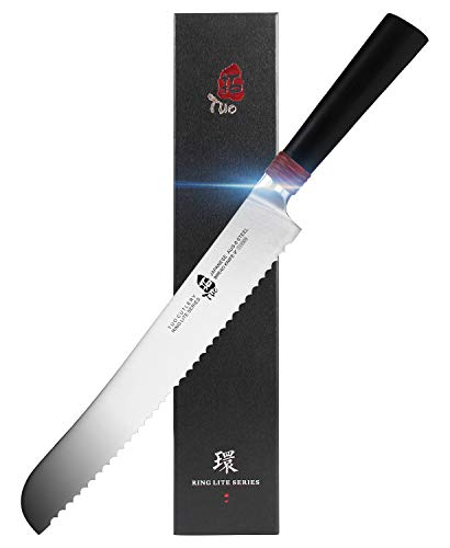 TUO Bread Knife 9 inch - Kitchen Razor Sharp Serrated Bread Cutter Professional Cake Slicing Knives for Baked Food - Japan AUS-8 Stainless Steel with Pakkawood Handle - RING LITE SERIES with Gift Box