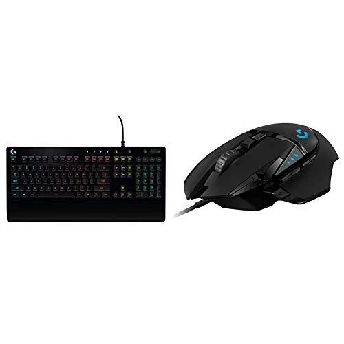 Logitech g213 prodigy tastiera gaming, rgb lightsync backlit keys, resistente agli schizzi, tasti personalizzabili & g502 hero mouse gaming prestazioni elevate, sensore hero 16k, 16000 dpi