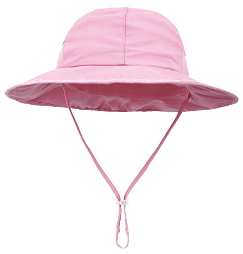 Baby Girl ANCHOR Bucket Sun Hat with Chinstrap with REMOVABLE Hair Bow By Funny Girl Designs Light Pink Hat with Light Pink Bow and Anchor