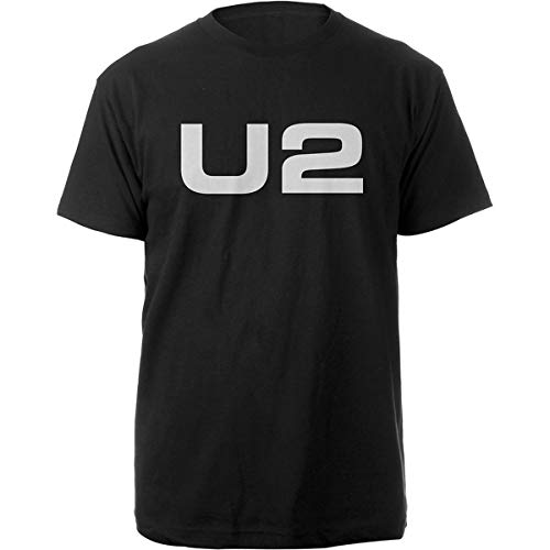 Rock Off U2 Logo Bono The Edge Oficial Camiseta para Hombre (Large)