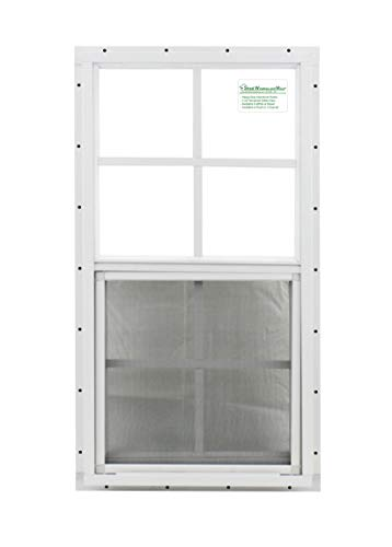 """Shed Window 18"""" X 27"""" White J-Channel Mount, Safety/Tempered Glass Storage Shed, Playhouse"""