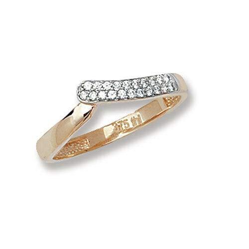 Wishbone Ring Yellow Gold Eternity Wedding Ladies Cubic Zirconia Hallmarked - Size: M
