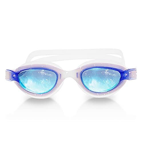 RABIGALA Gafas de natación polarizadas, antiniebla, anti UV, sin fugas, visión clara, para niños, adolescentes, jóvenes, hombres, adultos (azul claro, L)