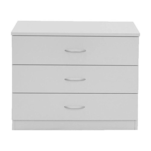 devoted2home Chest of Drawers White with Silver Handle, Wood, 3 Draws Small Wide Cheap Bedroom Furniture, 33.0 x 66.8 x 56.5cm. Great Hallway, Dining and Living Room Storage Cabinet