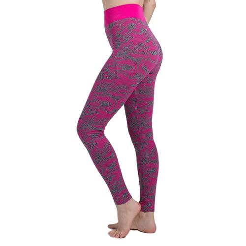 QTJY Leggings Deportivos de Camuflaje de Color, Pantalones Deportivos de Yoga para Mujer, Pantalones Deportivos sin Costuras de Cintura Alta D Small