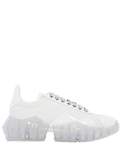 JIMMY CHOO Luxury Fashion Damen DIAMONDFCATWHITE Weiss Leder Sneakers | Herbst Winter 20