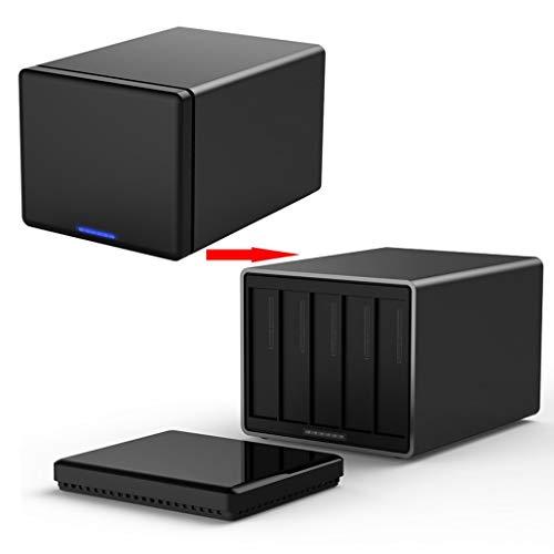 XBRMMM Caja De Unidad De Disco Duro USB 3.0 De 5 Bahías con Raid, Caja De Matriz De Disco De Incursión De Aleación De Aluminio Caja De Disco Duro De Múltiples Discos 50TB