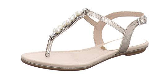 MARCO TOZZI 2-2-28113-24, Sandali con Cinturino alla Caviglia Donna, Argento Platinum 957, 37 EU