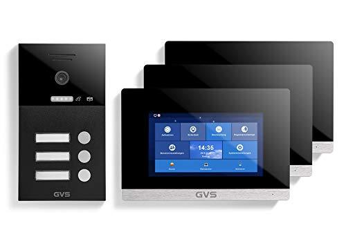 GVS AVS1243U - Videoportero IP de 4 cables, estación de puerta empotrada IP65, monitor de 3 x 7 pulgadas, aplicación, cámara HD de 120 °, función de apertura de puerta, 32 GB de memoria, conmutador PoE, 3 unidades de casa familiar
