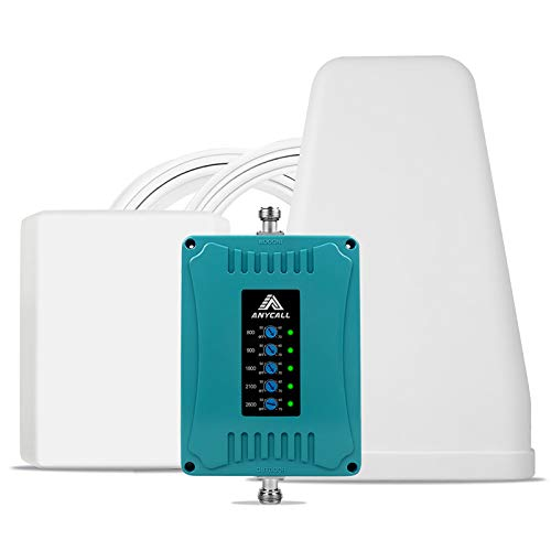 ANYCALL 5-Banda Amplificador Cobertura Movil Mejorar la Red y Llamar GSM/3G/4G LTE 800/900/1800/2100/2600MHz Repetidor Señal Móvil para Movistar/Orange/Yoigo/Vodafone