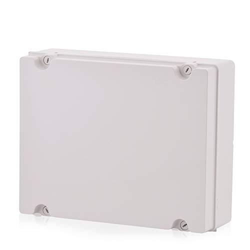 Aufputz Installationsgehäuse, Abzweigkasten Kunststoffgehäuse mit Scharnierschraube | 380x300x120mm | IP65 | Verteilerkasten Leergehäuse Industriegehäuse, Abzweigdose, Schaltschrank