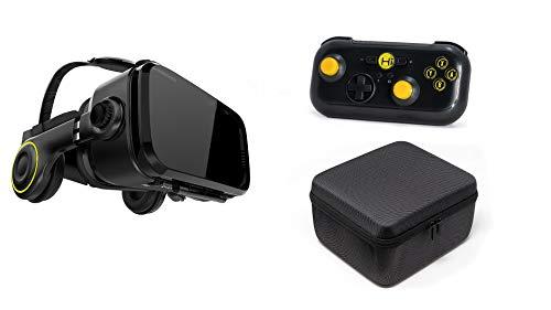 VR-Shark X4 Set - Kit de Realidad Virtual & Gamepad Bluetooth & Hardcase [Gafas VR para Smartphones 4,7 - 6,2 [Compatible con Nexus / Samsung / LG / Huawei / Sony FOV 120° Android