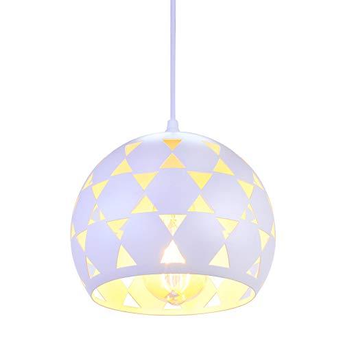 SISVIV Lámpara Colgante Moderno Lámpara de Suspensión Luz Techo Rústico Industrial Diseño Esférico para Cocina Restaurante Comedor Bar Blanco