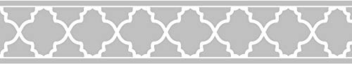 Gray and White Trellis Print Modern Lattice Wall Paper Border