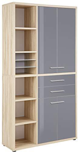 MAJA Möbel Highboard-Kombination, Holzwerkstoff melaminharzbeschichtet, Eiche Natur/Grauglas, One Size