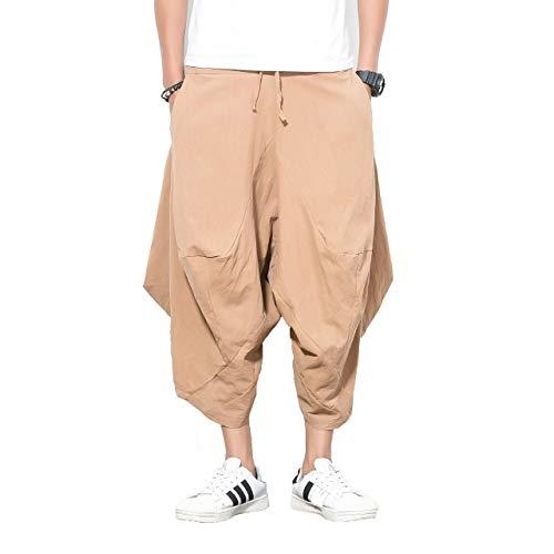 FTIMILD Men's Boho Harem Pants Cotton Baggy Wide Leg Pants Trousers with Pockets Khaki