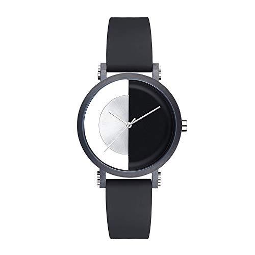 irugh Quarzuhr, Mode für Herren Wasserdichte Business-Uhr, Leder schwarz mit einfachem Zeiger Yin und Yang-Tisch, Tief wasserdicht