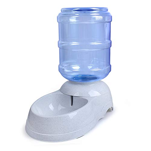 Teninyu - Dispensador de agua para mascotas, 3 galones, para perro, gato, animales, gravedad, agua, fuente de bebida, fuente de agua, soporte para plato