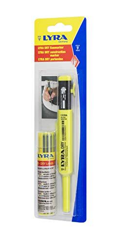 Lyra Dry Marker mit Ersatzminen, Set mit 12 Minen (Farben rot, gelb, Graphit, weiß, grün, blau), mit Spitzer – 4498001