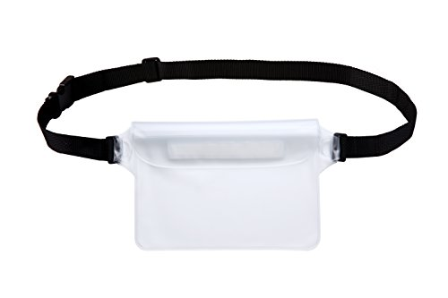 Waterproof Pouch with Waist Strap Best Way to Keep Your Phone and Valuables Safe and Dry Perfect for Boating Swimming Snorkeling Kayaking Beach Pool Water Parks (White)