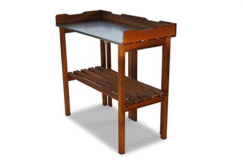 Table de jardinage pliable avec plateau de travail galvanisé Marron 90 x T40 x 86 cm
