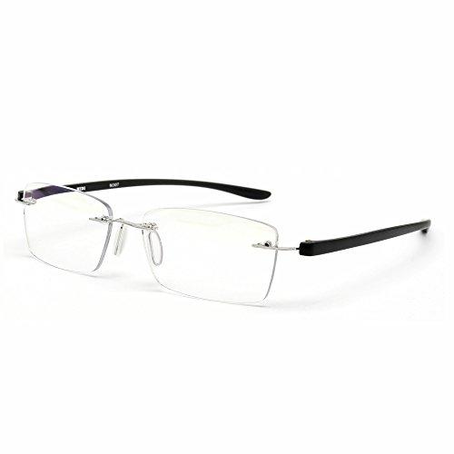 MIDI-ミディ おしゃれ 老眼鏡 ブルーライトカット 紫外線カット ブラック 度数+3.00 ふちなし 軽量 (M-307N,C2,+3.00)
