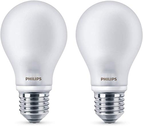 Philips ampoule LED E27 7W Equivalent 60W Verre Blanc chaud Lot de 2