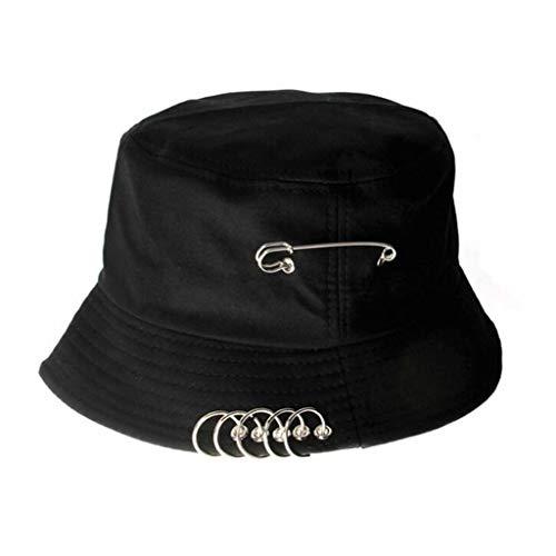 VIVICMW Unisex Iron Ring Hoop Folding Fisherman's Hat Sun Protection Sun Hat Summer Outdoor Cap (Black)