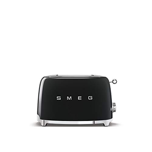 Smeg TSF01BLUK Retro 2 Slice Toaster, 6 Browning Levels, Extra-Wide Bread Slots, Defrost and Reheat Functions, Removable Crumb Tray, 950 W, Black
