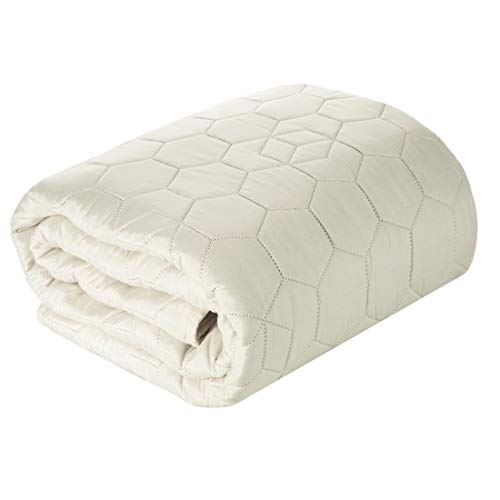 Deisgn91 Bedsprei, eenvoudig dagdeken met honingraatpatroon, gewatteerde deken, sprei, deken, slaapkamer, woonkamer, lounge, crème, 220 x 240 cm