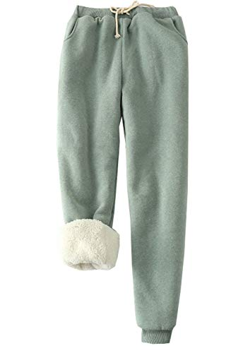 Flygo Womens Casual Running Hiking Pants Fleece Lined Activewear Sweatpants (Large(Weight 154-165lbs), Bea Green)
