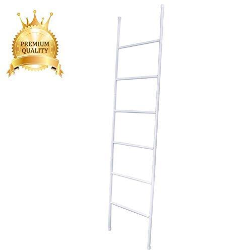 Badkamer Ladder Handdoek Rack, Deken Ladder Zwart Metaal, Handdoek Ladder Rack met 6 Tier Bar, RVS Deken Ladder Houder voor Woonkamer, Badkamer, Slaapkamer, Wasruimte