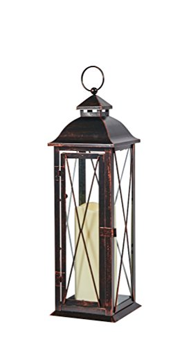 Smart Design STI84036LC Siena Metal Lantern with LED Candle, 16-Inch Tall, Antique Brown Finish,...