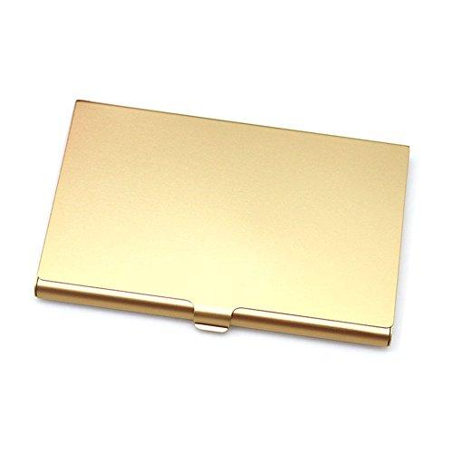 GEZICHTA - Funda para tarjetas de visita, soporte de aluminio inoxidable, oro rosa, Tamaño libre