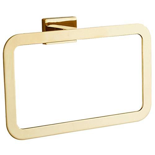 SODIAL Gold Handtuchring Chrom Badezimmerzubeh?R Dekoration Eleganter Quadratischer Stil