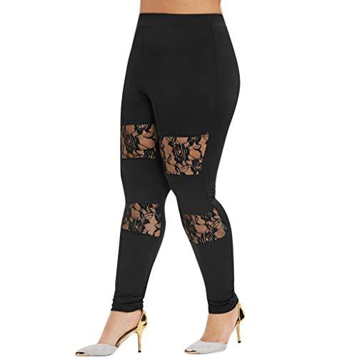 LOPILY Leggings Damen Große Größen Spitze Yogahosen Blickdichte Blumendruck Röhrenhose High Waist Elastisch Trainingshosen Damen...