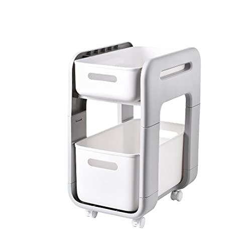 2-laags kunststof opbergrek kast organizer met wiel opberglade voor keuken badkamer kantoor